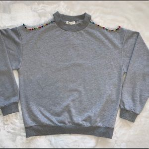 Honey Punch Gray Shoulder Cut Out Sweatshirt